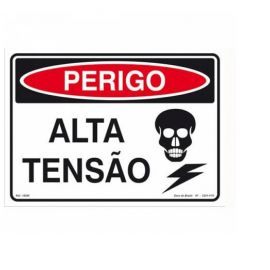 PLACA ADVERTENCIA ALTA TENSAO GRANDE  33,5 X 24 CM